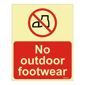 Glow In The Dark No Out Door Footwear Aqua Safety Sign Board(200 x 150 mm) thumbnail image 1