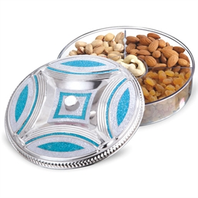 Silver Finished Containers, Box, Platters for Storing And Serving Dry Fruits, Sweets, Chocolates, Fancy Multipurpose Decorative, Traditional thumbnail image 1