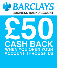 £ 50 Cash Back when you open your new company bank account with Barclays through us
